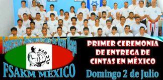 Tras año y medio de trabajo y duros entrenamientos, la Federación Sudamericana de Krav Maga-México (FSAKM-México), llevará a cabo la entrega de cintas a la primera generación de estudiantes del país.