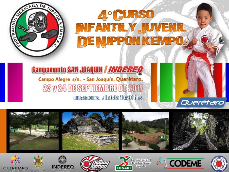 Una interesante y emocionante práctica de campo llevará a cabo la Federación Mexicana de Nippon Kempo (FMNK), quien realizará un Campamento Infantil y Juvenil en el Parque Nacional Campo Alegre, en San Joaquín, Querétaro.