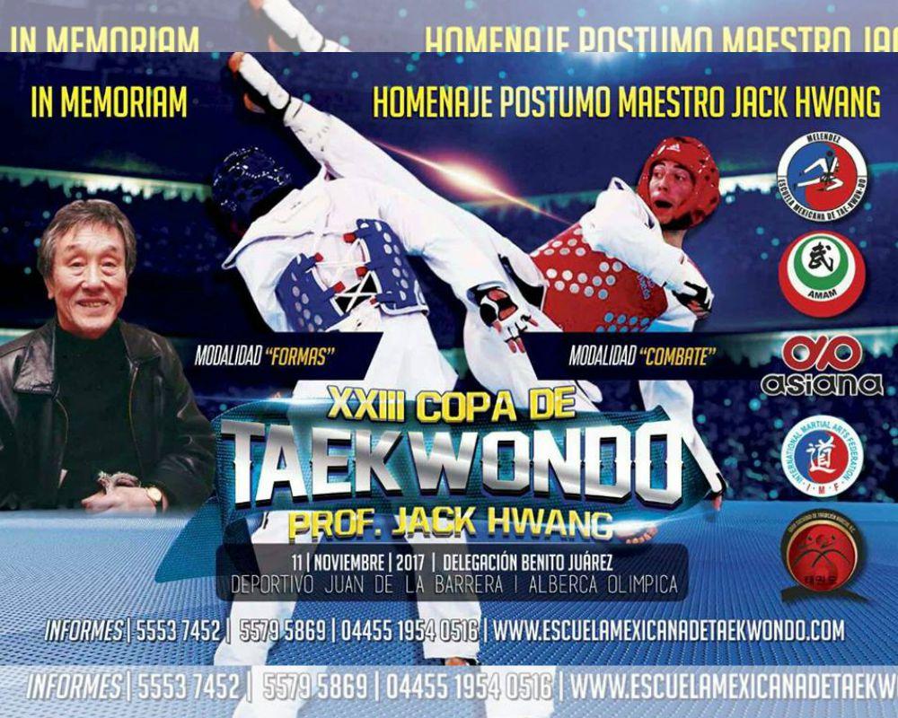 Practicantes y competidores de diferentes estados del país estarán presentes en la XXIII Copa de Taekwondo Jack Hwang 2017, en la cualse rendirá un homenaje póstumo al maestro que fue el primer impulsor del arte marcial en México.